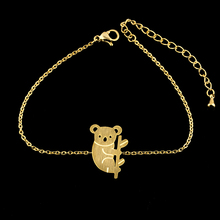 GORGEOUS TALE B046 Simple Wedding Origami Koala Bracelet for Women Stainless Steel Gold Chain Fashion Jewelry Ornaments