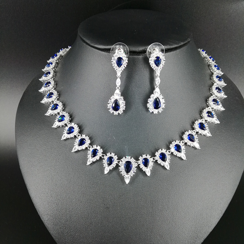 все цены на NEW FASHION elegant blue water drop zircon golden necklace earring wedding bride banquet dress formal jewelry set free shipping
