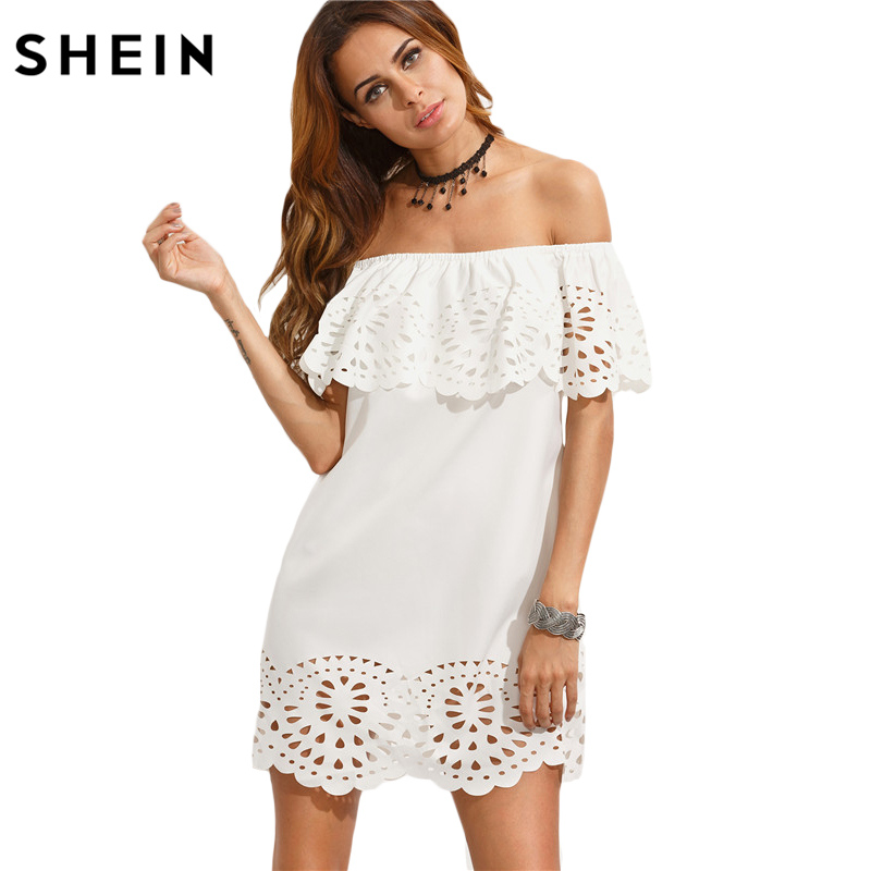 SHEIN New Fashion Women White Summer Beach Dresses Ladies Boho Short Sleeve Cut Out Off The Shoulder Ruffle Dress