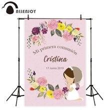 Allenjoy Fondo de fotografía de decoración de comunión, flor rosa, niña, fiesta, cabina de foto personalizada, sesión fotográfica, fotófono