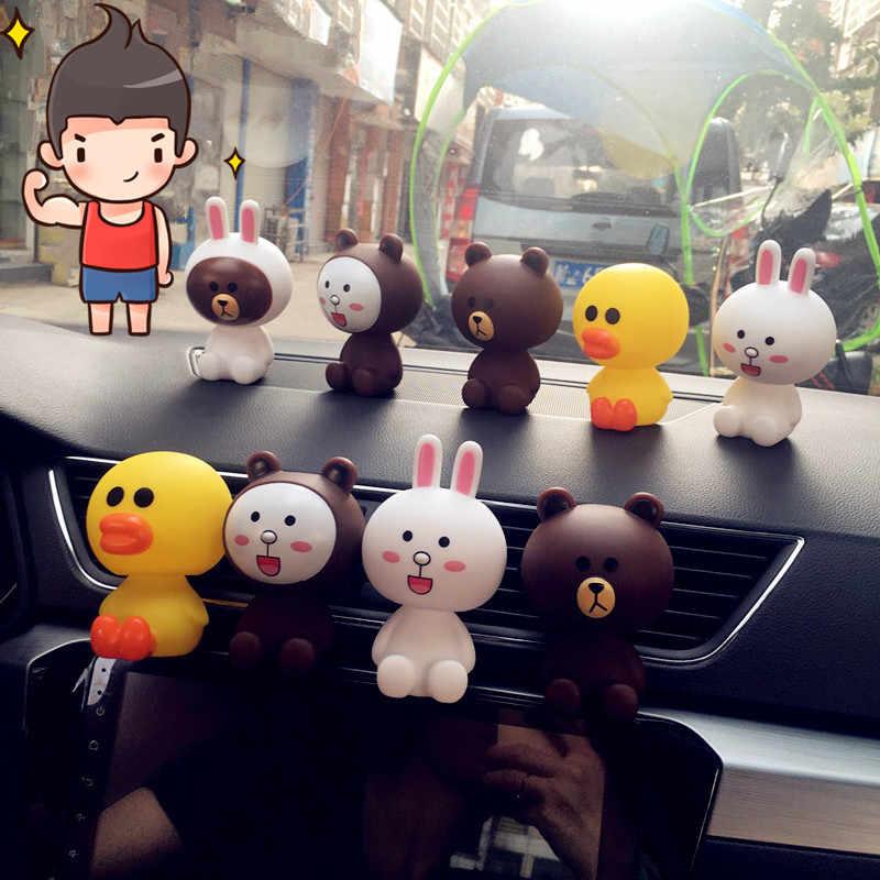 2019 pcs NOVO 5 animal pato coelho e urso Bonecas de Brinquedo Modelo de construção 7 cm Adorável Bonito Balançando A Cabeça do Automóvel figura de ação PRESENTE