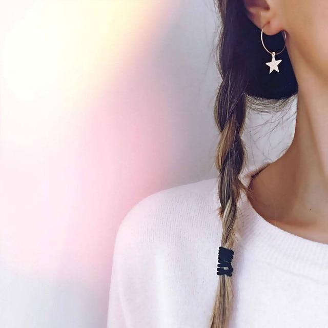 2018 Simple ทองเงินสีวงกลม Star Stud ต่างหูสำหรับผู้หญิง brincos Oorbellen boucle brincos pendientes orecchini เครื่องประดับ