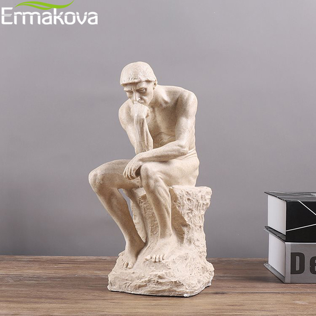 ERMAKOVA Abstract Art Thinker Statue Thinking of You Figurine Natural Sandstone Craft Sculpture Modern Home Office Decoration 5