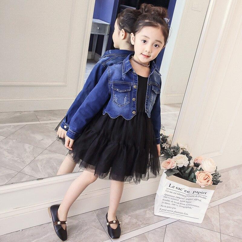 Spring Autumn Girls Clothing Sets Coat Jeans Suit Jacket + Long Sleeve Dresses 2Pcs Set Kids Clothes Set L66