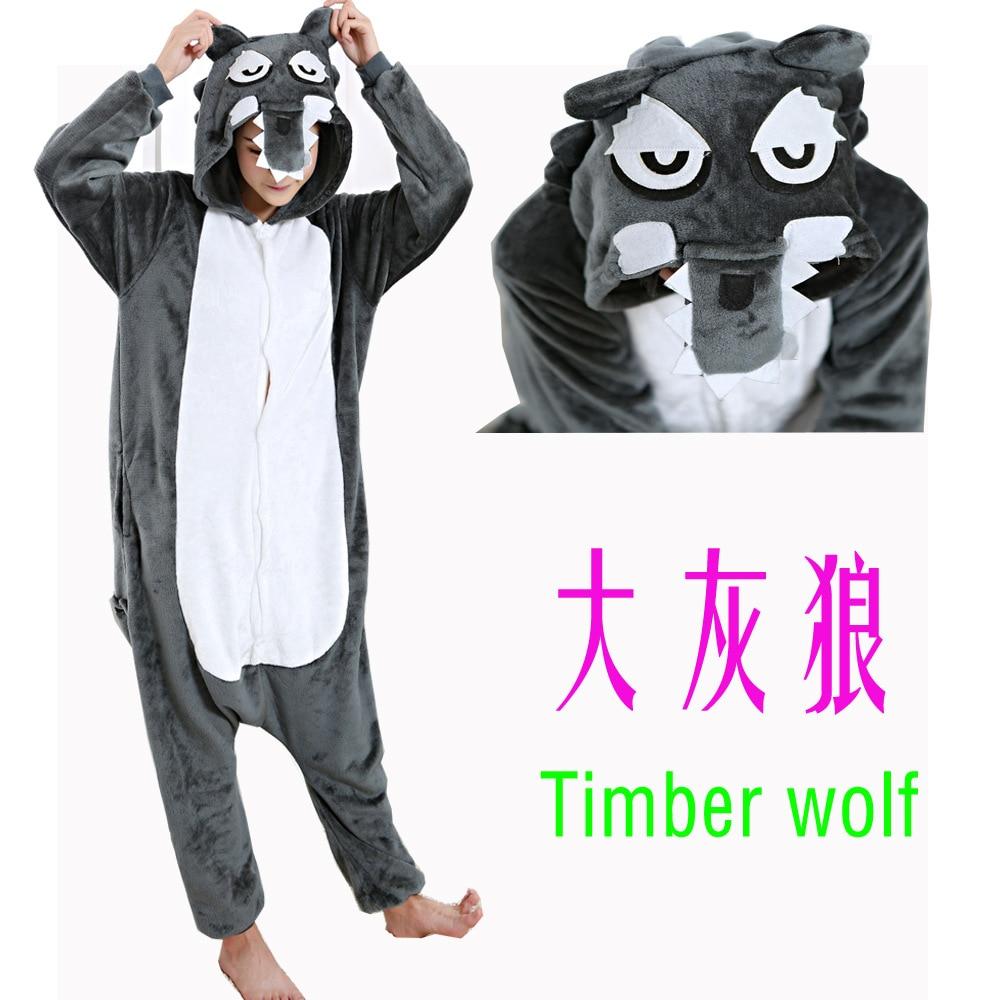 Adult Animal Wolf Costume Pajamas Sleepsuit Onesie Sleepwear Pyjamas Unisex Gray Cub Coyote Cosplay Sleepwear Tops Drop shipping