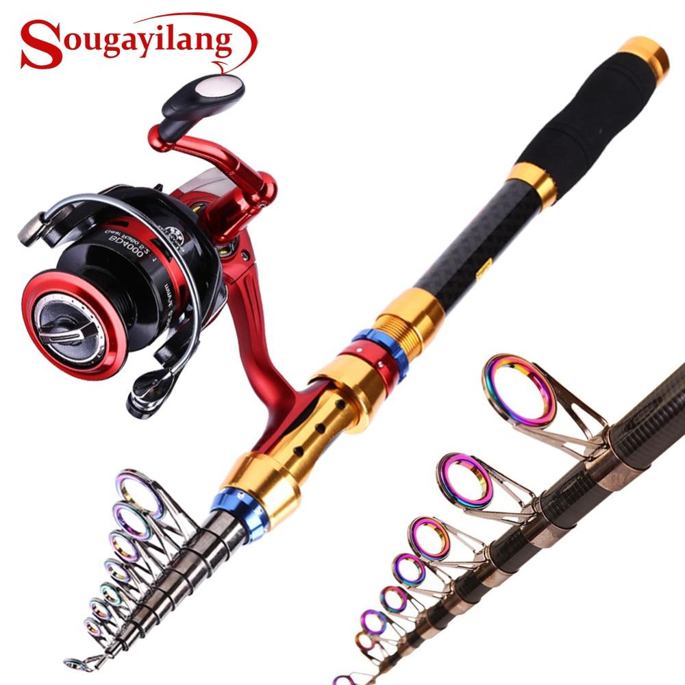 Sougayilang 1,8-3m Teleskop Carp Fishing Rod og 13 + 1BB Fishing Hjul - Fiske