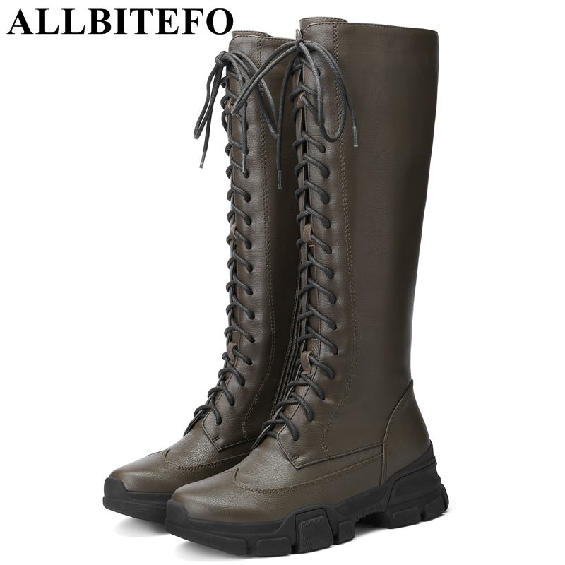 ALLBITEFO brand soft cow leather wedges heel women boots fashion women knee high boots shoes girls winter thigh high boots botas allbitefo natural genuine leather women boots high quality winter girls knee high long boots fashion thigh high boots for woman
