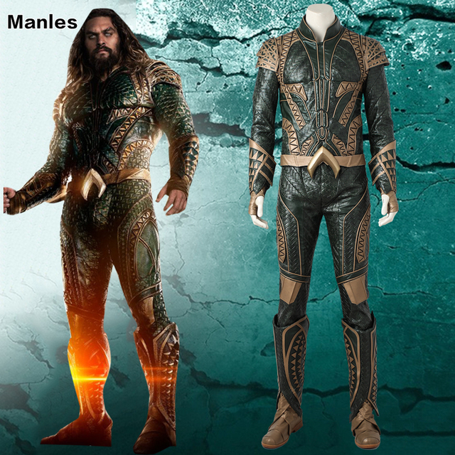 adb2c286dcbb Justice League Cosplay Costume Aquaman Arthur Curry Outfit Halloween  Clothes Movie Superhero Clothing Boots Adult Men Customized