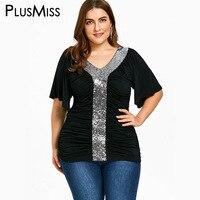 PlusMiss Plus Size 5XL Sexy V Neck Sequin Blouse Women Clothes Big Size Black Half Sleeve