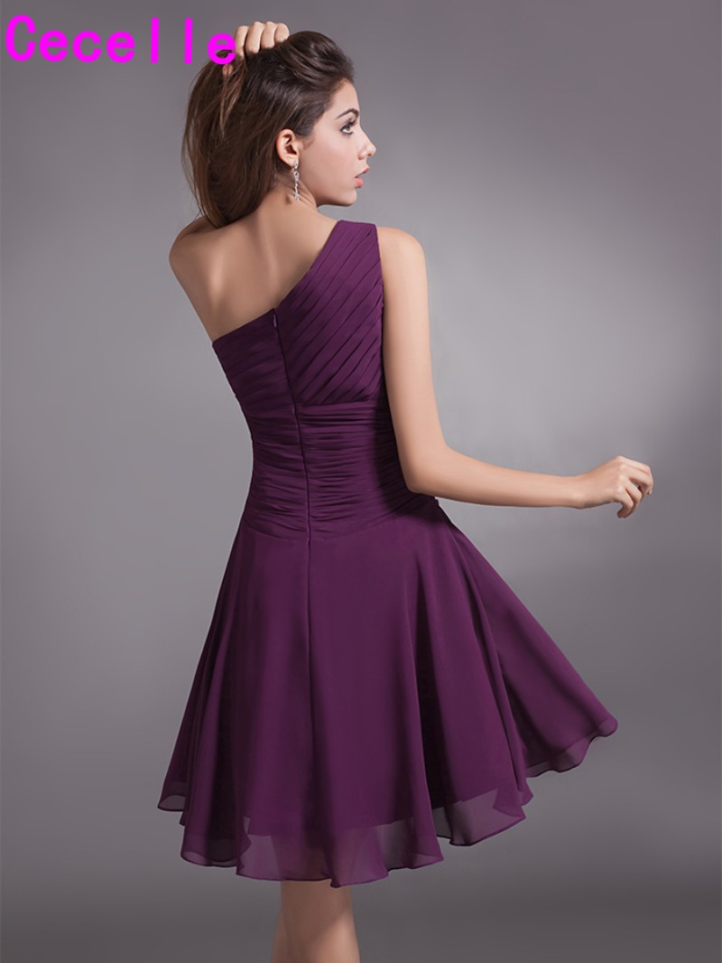Simple Grape One Shoulder Ruched Chiffon Short Bridesmaid Dresses ...