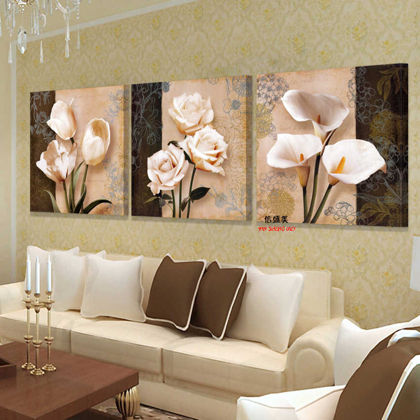 Modern 3 piece Flower Hd Print on Canvas oil Painting Picture Cheap paintings For Living Room Wall pictures Art Modular no Frame
