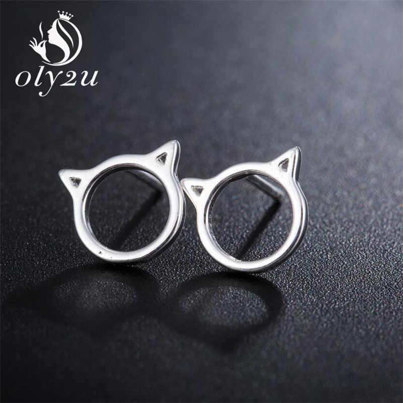 Oly2u جديد أزياء الحيوانات القط وأقراط للنساء كيتي رأس القط القرط ترصيع حزب هدايا