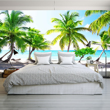 3D custom coconut trees wallpaper nature landscape large mural Mediterranean style photo for holiday hotel household