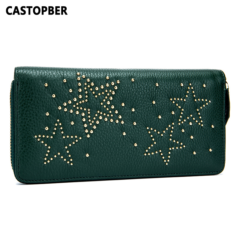 Women'S Zipper Wallets And Purses Women Rivet Wallet Cow Genuine Leather Long Purse Fashion Designer High Quality Famous Brand