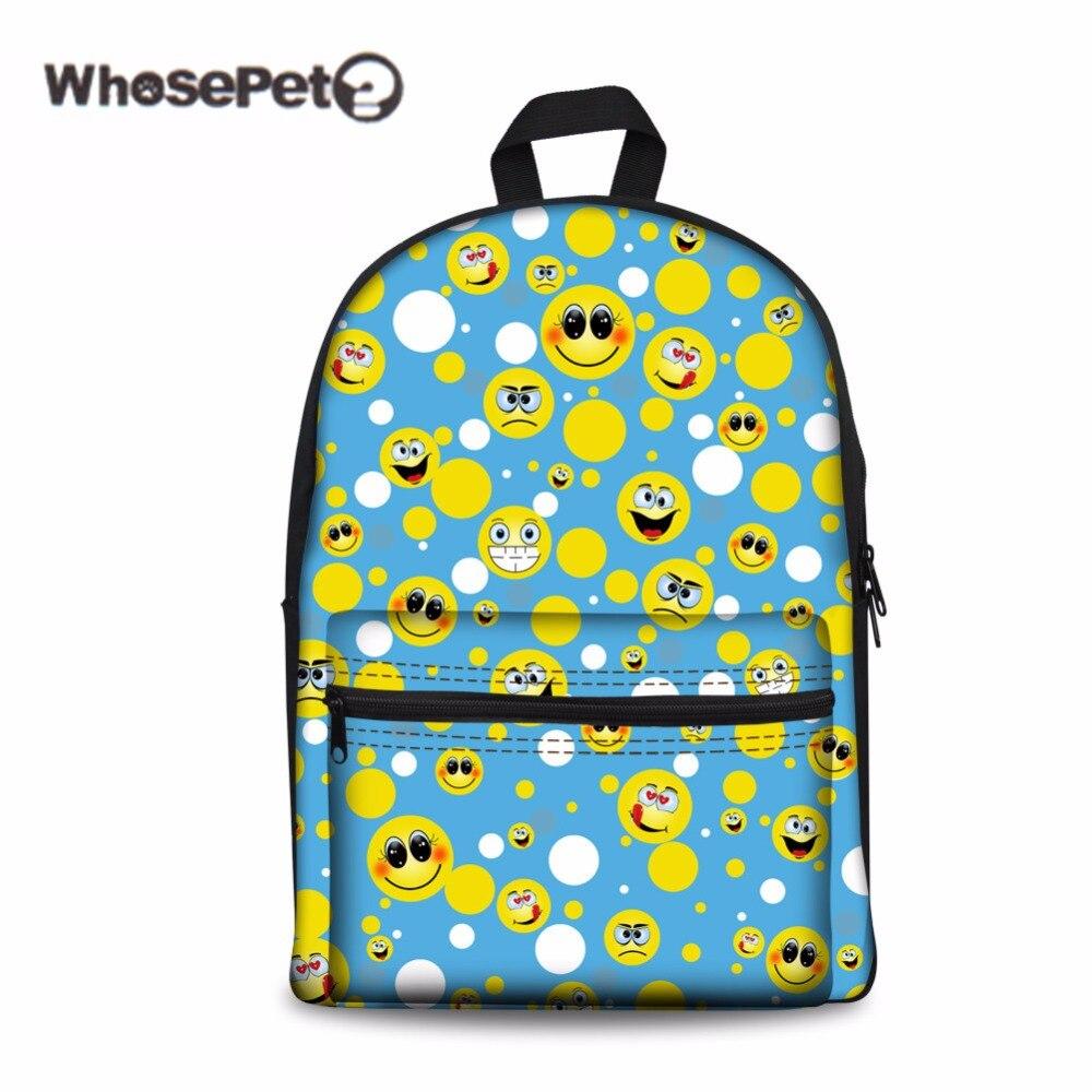Whosepet Лидер продаж emoji печати школьный Kawaii рюкзак Для женщин школьная сумка для  ...