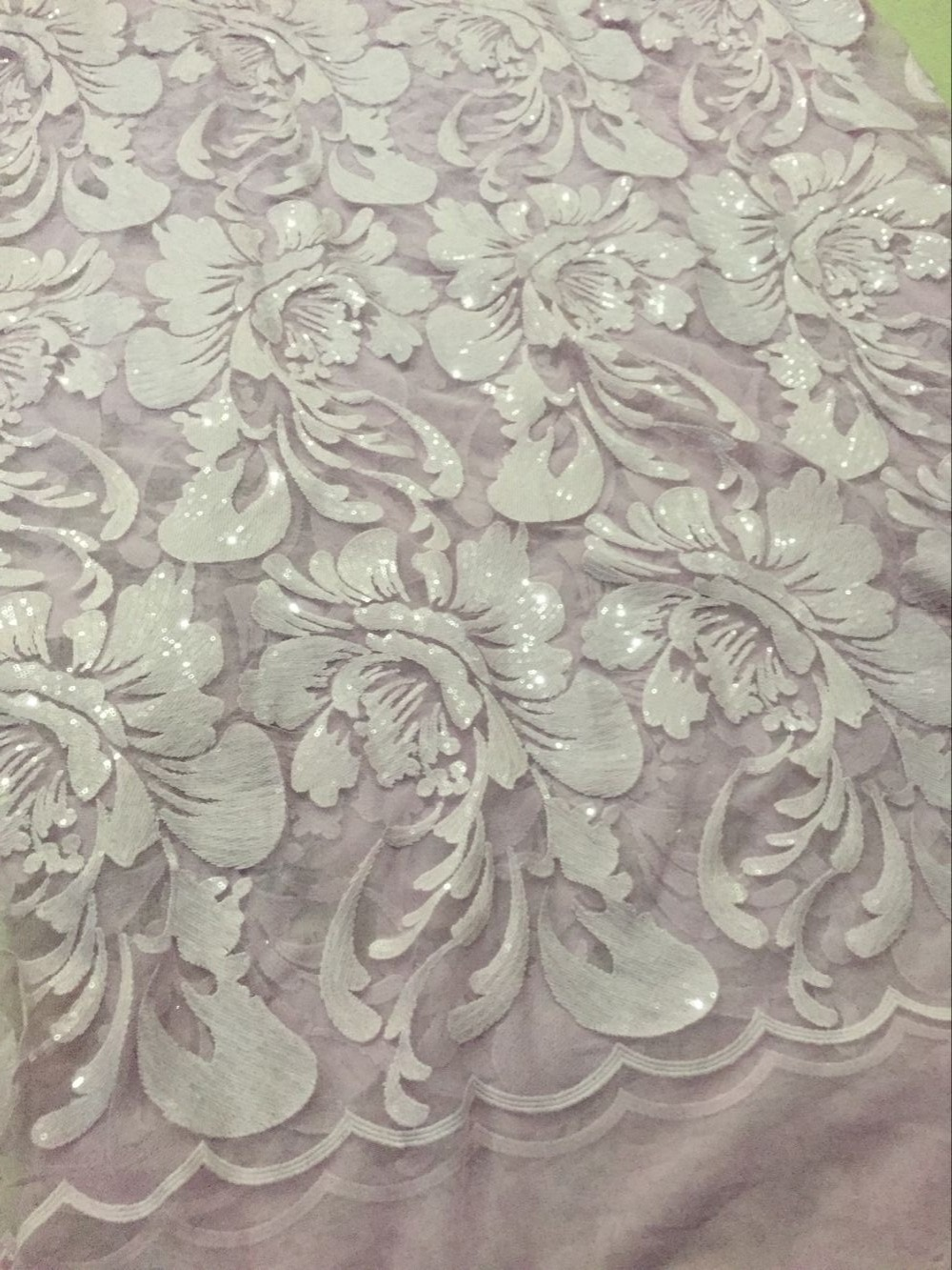 High Quality African French Lace Fabric CGL-120778 sequins African Tulle Lace fabric
