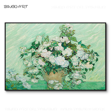 Professional Artist Hand-painted Van Gogh Artwork White Rose Oil Painting on Canvas Flower