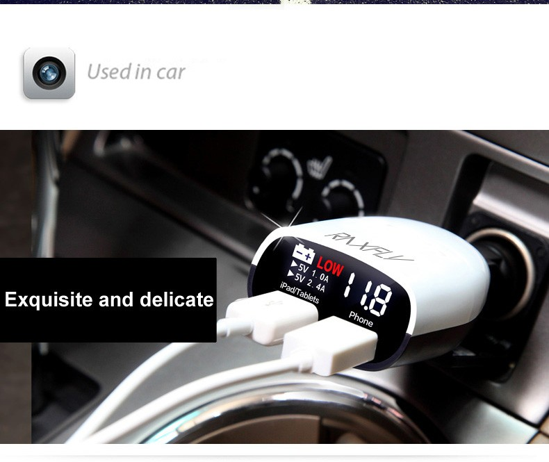 Universal Use Dual Port USB Charger 3.4A Car Charger Voltage Monitor with LED Screen Display (3)
