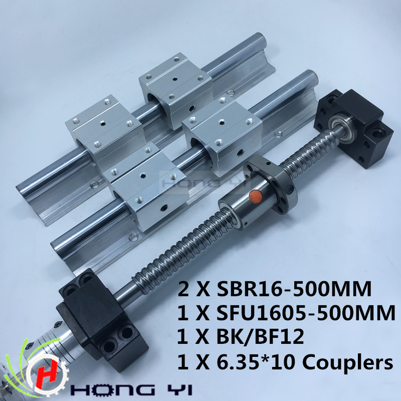 2 X SBR16 Linear Guides L 500MM & 1pcs ballscrew RM1605 - 500MM & 1pcs BK12 BF12 & 1pcs Couplers 6.35 * 10 &1pcs SFU1605 nut