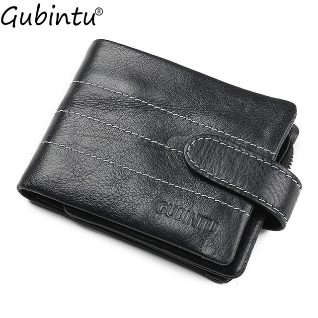 GUBINTU 2017 Fashion Style Trifold Wallets Genuine Leather Men Wallets Man Credit Card Holder Zipper Coin Pocket Brand Purse