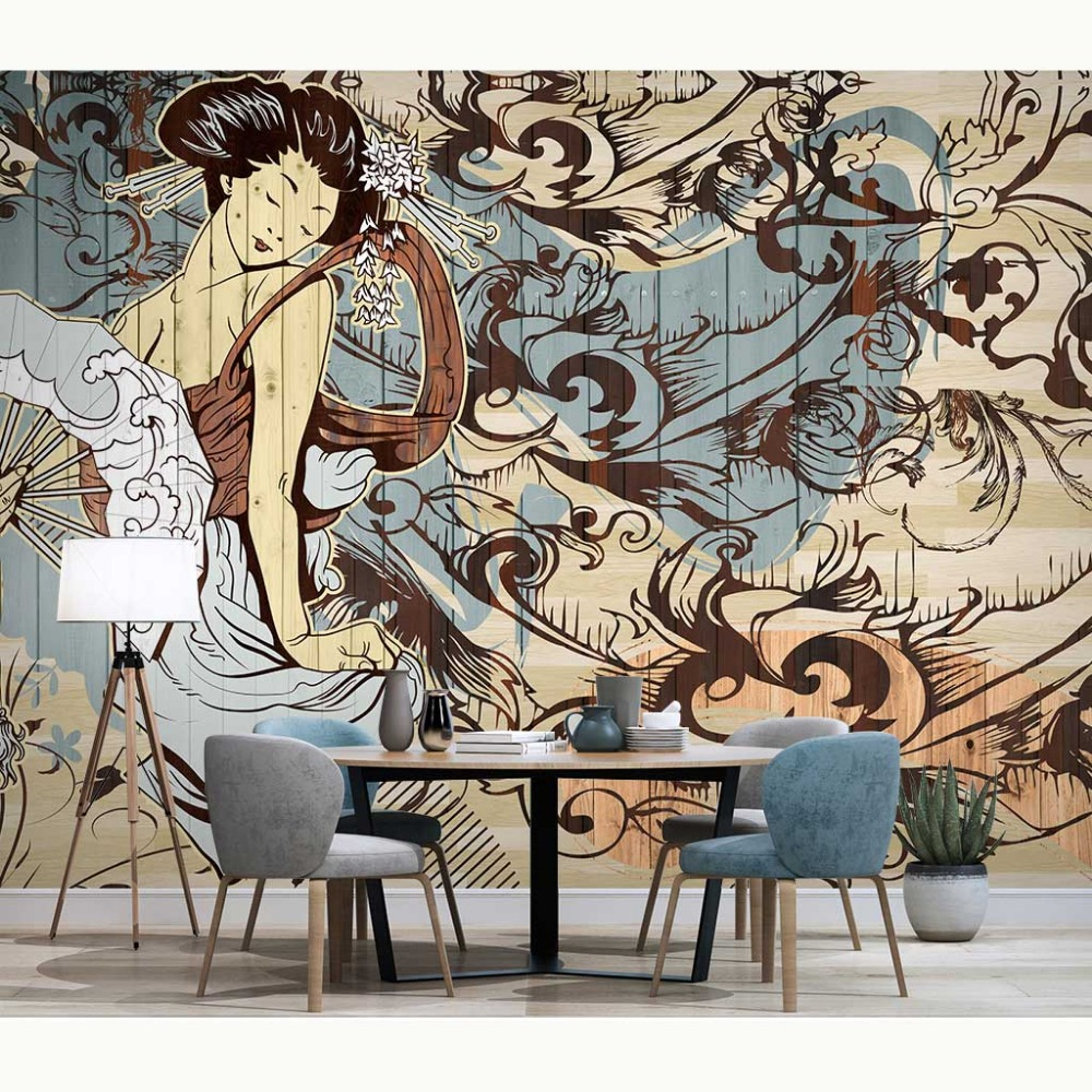 Us 158 48 Offwallpaper Japanese Wall Painting Photo Mural Home Decor Papier Peint 3d Living Room Bedroom Self Adhesive Vinylsilk Wallpapers In