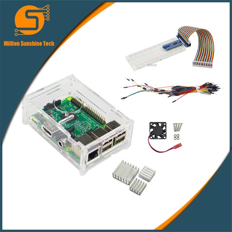 Raspberry Pi 3 case+GPIO Kit+cooling fan+heat sink for Raspberry 3 free  shipping