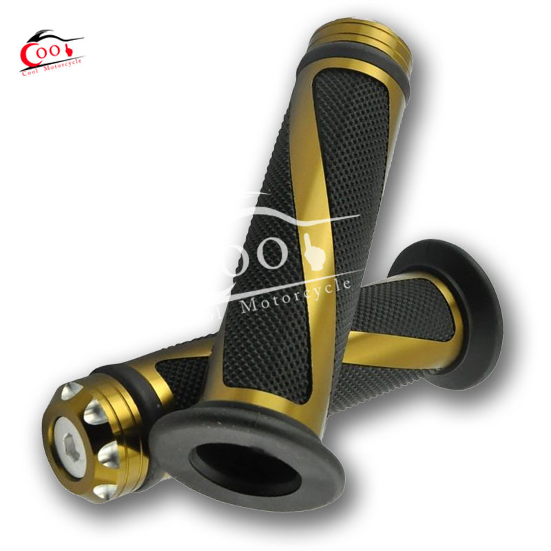 1 Set Brown Universal 7 8 Motorcycle Bike Rubber Handlebar Hand Grips with Caps Bar Ends
