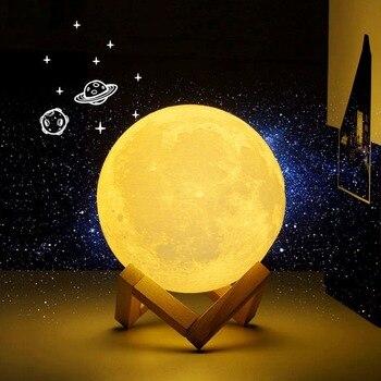 Lámpara de Luna 3D Luna luz USB recargable LED novedad de mesa de Sensor táctil lámpara de mesa creativa luz decorativa para noche, regalo de cumpleaños