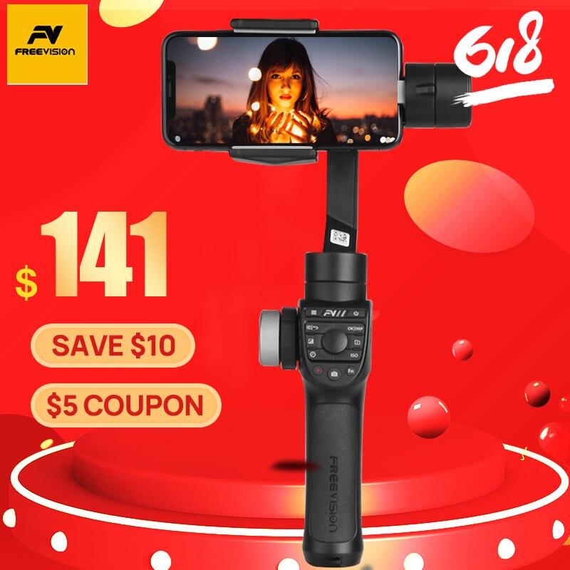Stabilisateur de Smartphone à cardan 3 axes Freevision vilta-m Pro pour caméras vlog Mic téléphone iPhone 8 Samsung S8 Gopro