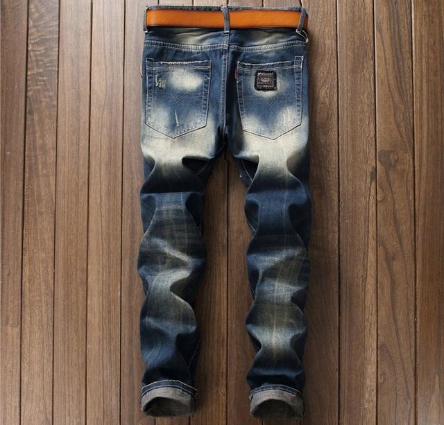 European American Style marque de mode hommes de jeans de luxe Hommes denim pantalon Slim Droite Broderie bleu fermeture à glissière pour hommes trou jeans