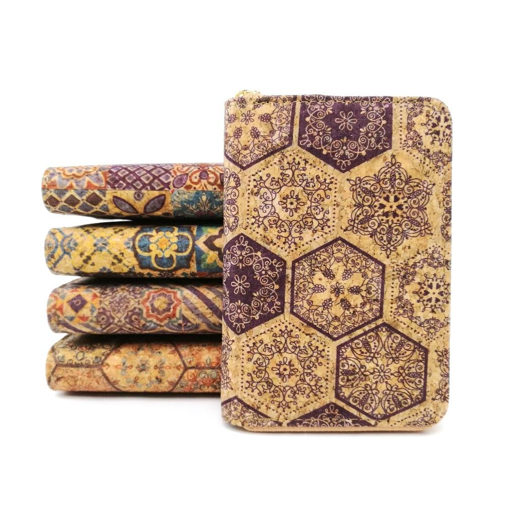 2019 New Arrival Portugal Natural Short Cork Wallet for Women Tile Pattern