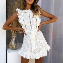 Fannic элегантное кружевное женское платье с вышивкой белое