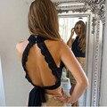Verão 2016 Sexy Backless Black Lace Tanque Das Mulheres Top Meninas gola alta elegante halter encabeça Partido bonito Top Colheita arco