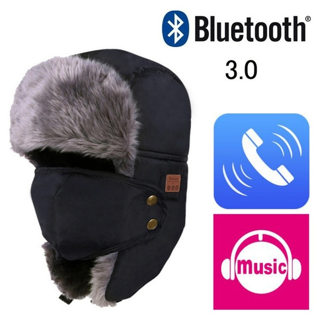 Otoño Invierno Cálido Beanie Hat Cap Auriculares Auriculares Micrófono Altavoz Bluetooth Inalámbrico Inteligente Bluetooth Sombrero