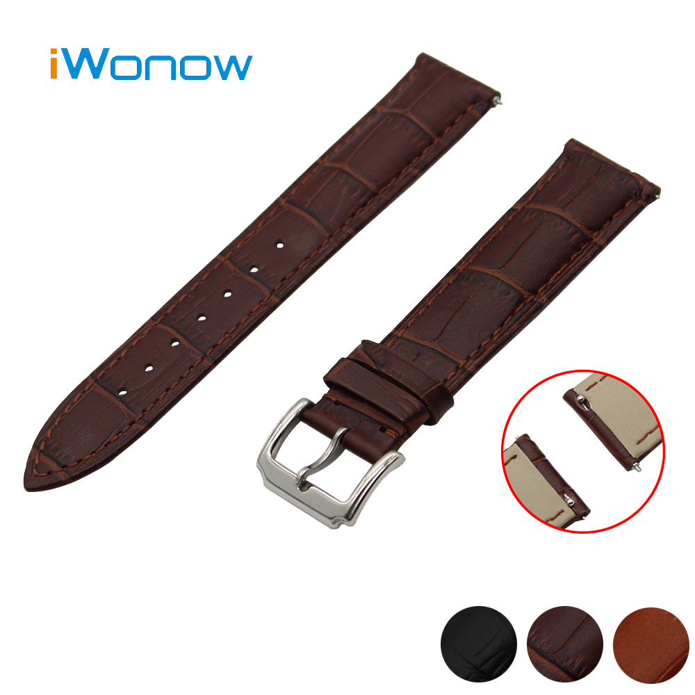 Genuine Leather Watch Band 18mm 20mm for DW Daniel Wellington Stainless Pin Buckle Strap Quick Release Wrist Belt Bracelet Black