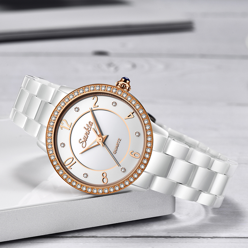 2019 New SUNKTA Women Watches Ceramic Diamond Watch Women Waterproof Slim Fashion Luminous Clock Ladies Watch Reloj Mujer Box in Women 39 s Watches from Watches