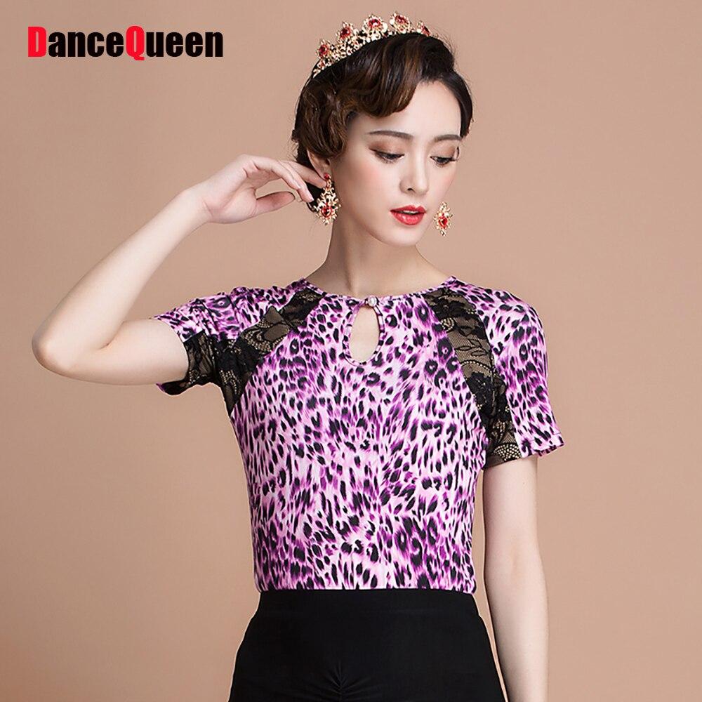 Cheap Latin Dance Shirt For Ladies Purple Leopard Print Milk Silk