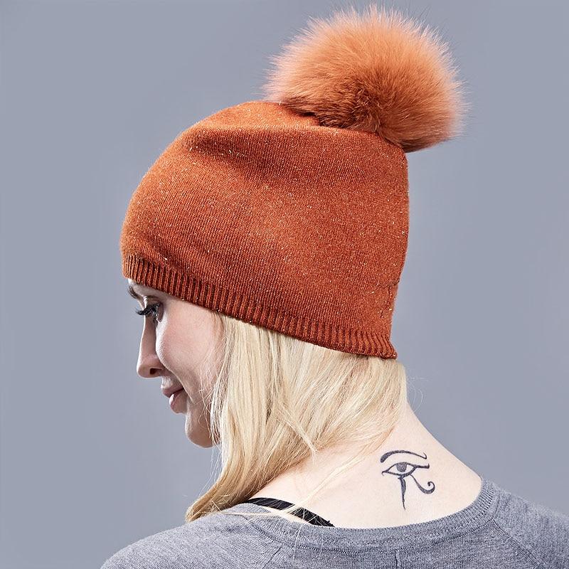 d1058595524549 ... Natural Dyeing Fox Fur Pom Poms Hat Female Elegant Wool Knitted 2018  Winter Brand New Women's ...