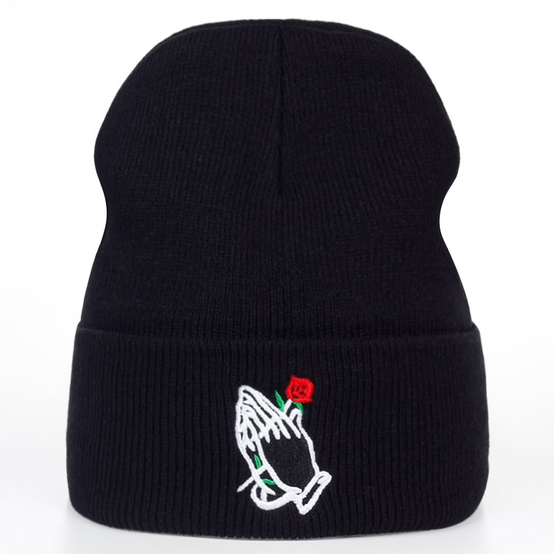 Hand Rose Embroidery Winter Hats Women And Men Cotton Casual Hat Cap Style 2017 Gorras Keep Warm Hat