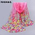 2015 шифон шарф женский шелковый шарф летом солнцезащитный крем весной и осенью аксессуары цветы пляж шарф мыс