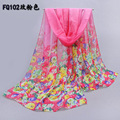 2015 chiffon scarf women's silk scarf summer sunscreen spring and autumn accessories flowers beach scarf cape