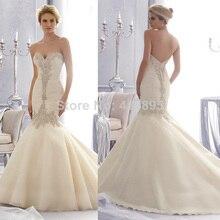 Vestido De Noiva 2014 Vintage Strapless Mermaid Wedding Dress Lace Sweetheart Bride Robe Mariage