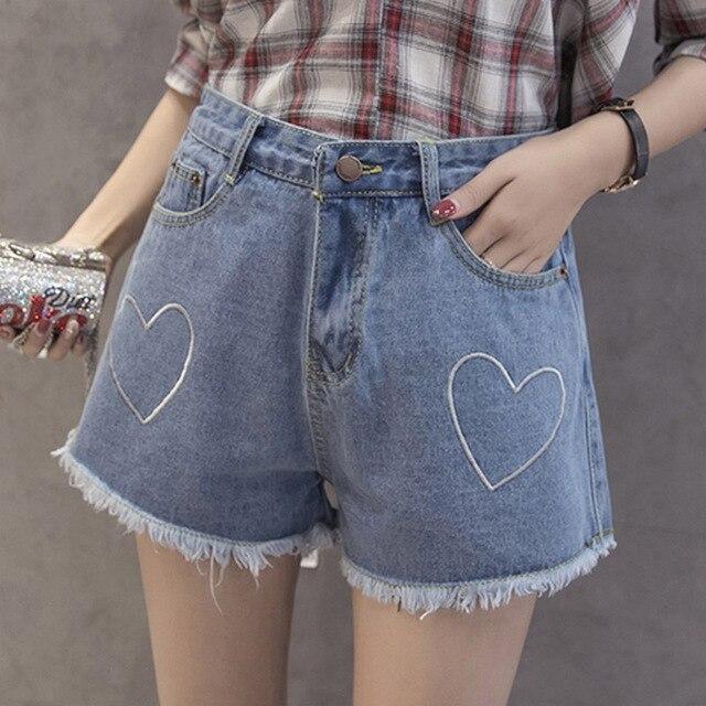 517959bff37 Corazón Bordado Damas Korte Broek Nueva Rebabas Shorts Vaqueros para las  mujeres de Gran Tamaño S