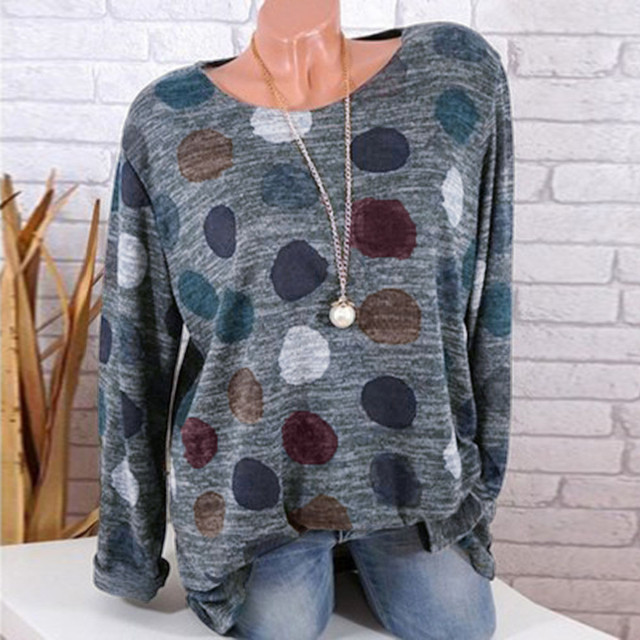 Plus Size Clothing Women Shirts Loose Round Neck Dot Print Tunic Tops Women Long Sleeve Round Neck Blouse blusas femininas  3