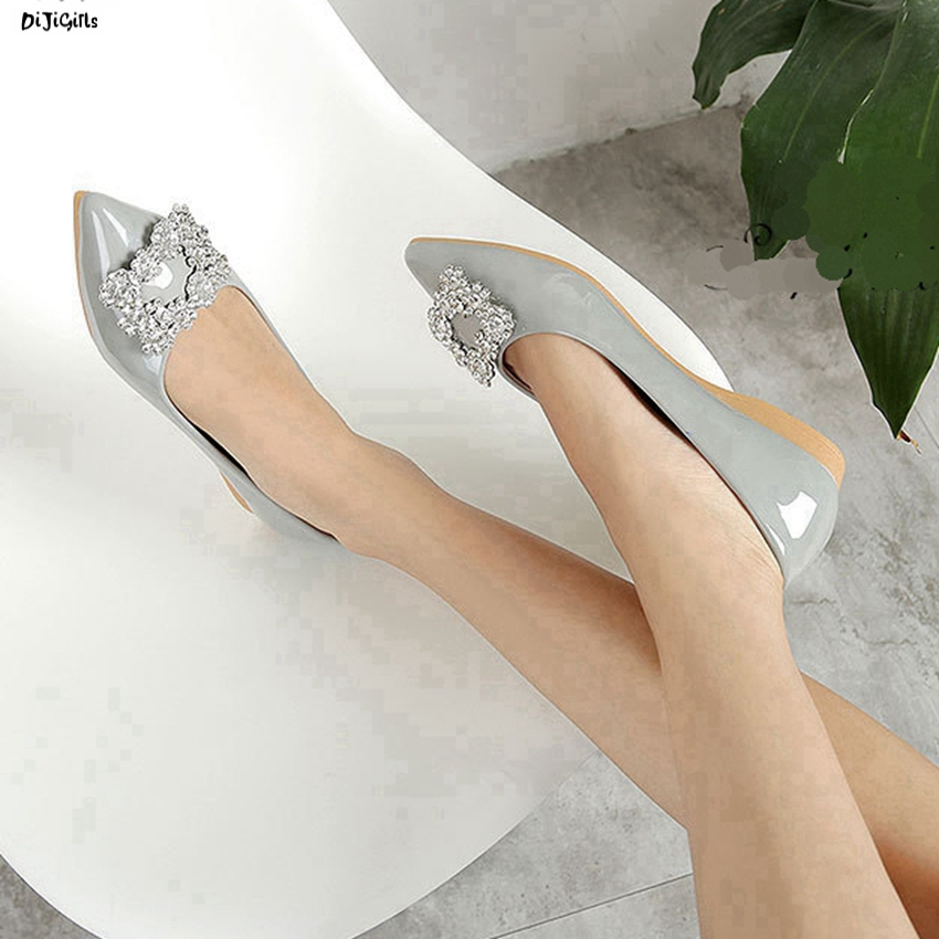 Women Fashion Patent Leather Flats Plus Size Slip On Rhinestone Pointed Toe Shoes Woman yh07 plue size 34 49 spring summer high quality flats women shoes patent leather girls pointed toe fashion casual shoes woman flats