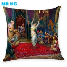 Cushion Case Gift  Court Dancer 45x45cm Pillow Cover Print linen One side printing Home Decorative Throw Cojines
