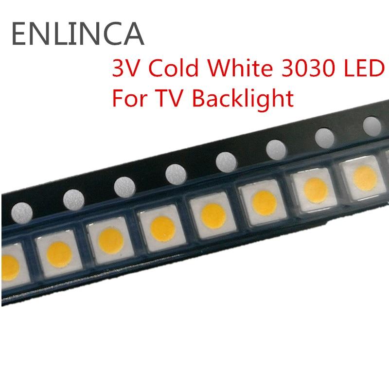 50-100pcs SMD LED 0.5W 1W 3V Cold White 3030 LED Diode LCD Back light Lighting Television Backlit Back-light LED TV Backlight