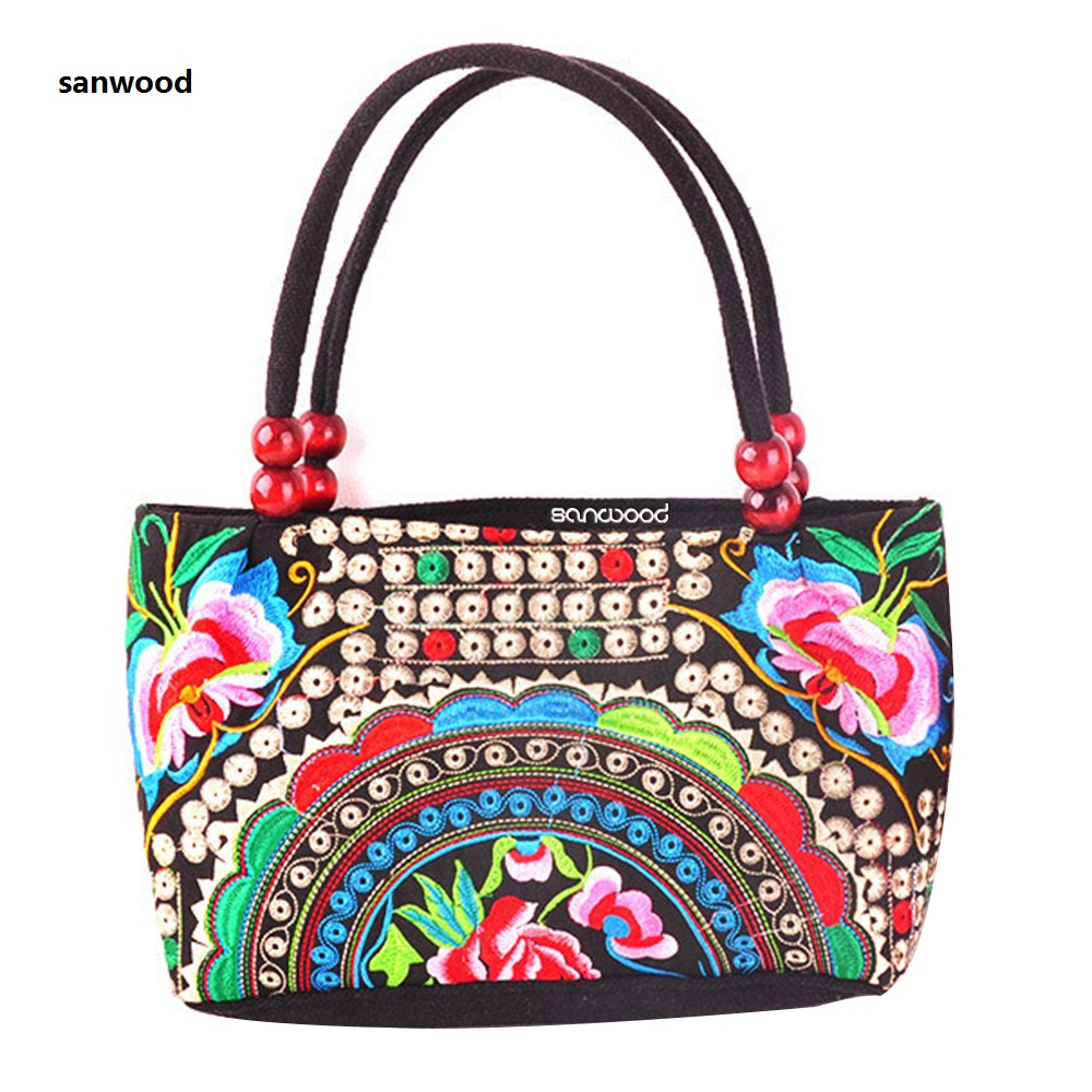 Women/'s handbag ethnic style embroidery flower pattern MINI shoulder bag