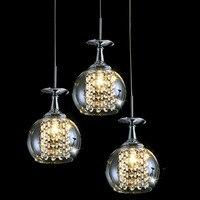 Бесплатная доставка 3 огни столовой стеклянный подвесной светильник tready вино хрустальный Кубок подвесной светильник светодио дный лампы б
