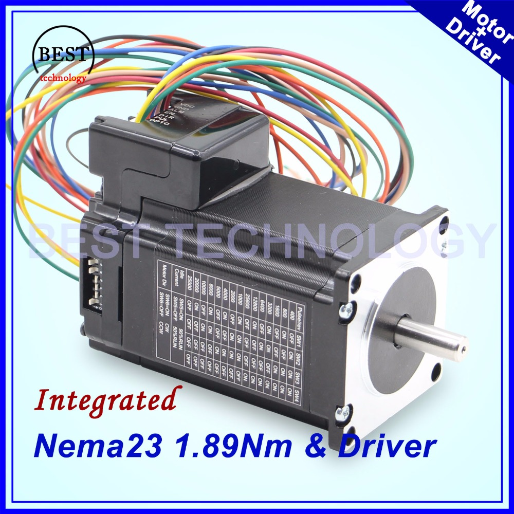 Nema23 1.89Nm integrated stepper motor with motor driver Nema 23 76mm integrated stepping motor 3A 4 wires shaft D=8mm Nema23 1.89Nm integrated stepper motor with motor driver Nema 23 76mm integrated stepping motor 3A 4 wires shaft D=8mm